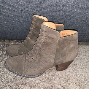 Brown stacked heel boots